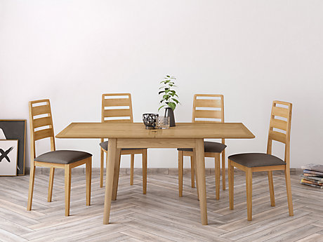 Onslow Flip Extending Dining Table & 4 Ladderback Chairs