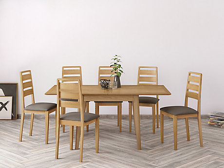 Onslow Flip Extending Dining Table & 6 Ladderback Chairs
