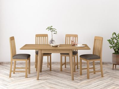 Onslow Flip Extending Dining Table & 4 Slatted Chairs