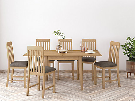 Onslow Flip Extending Dining Table & 6 Slatted Chairs