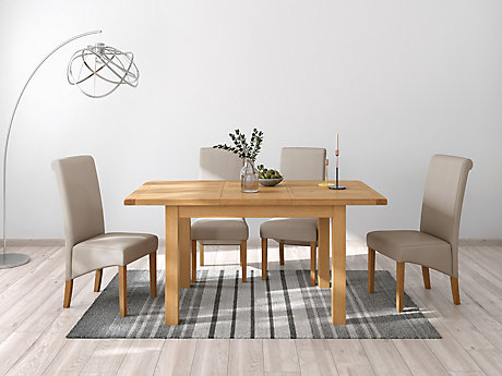 Brackley Small Extending Dining Table & 4 Darcy Chairs