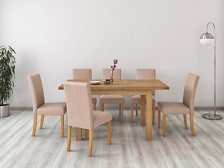 Brackley Small Extending Dining Table & 6 Taya Chairs