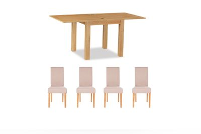 Brackley Square Extending Dining Table & 4 Taya Chairs