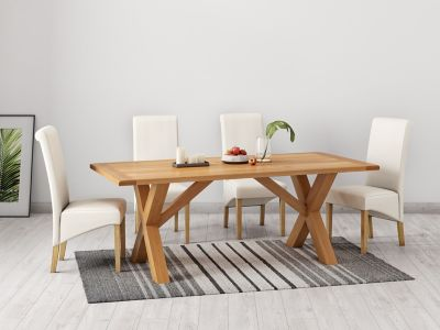 Brackley Cross Dining Table & 4 Darcy Chairs