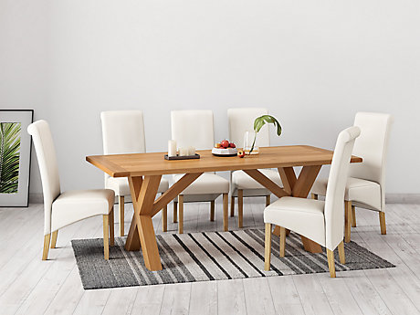 Brackley Cross Dining Table & 6 Darcy Chairs