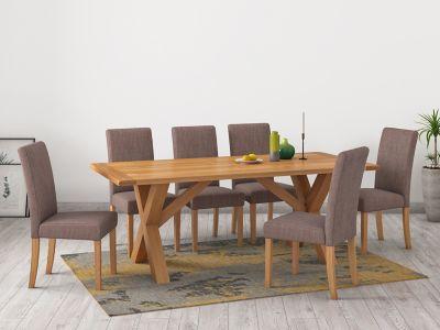 Brackley Cross Dining Table & 6 Taya Chairs