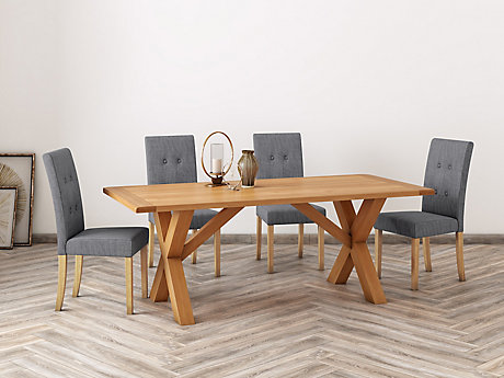 Brackley Cross Dining Table & 4 Lucy Chairs