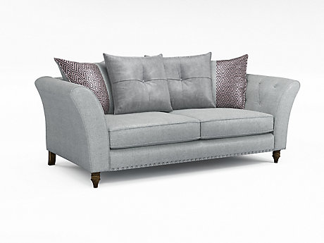 Elixer 3 Seater Pillowback Sofa with Studs