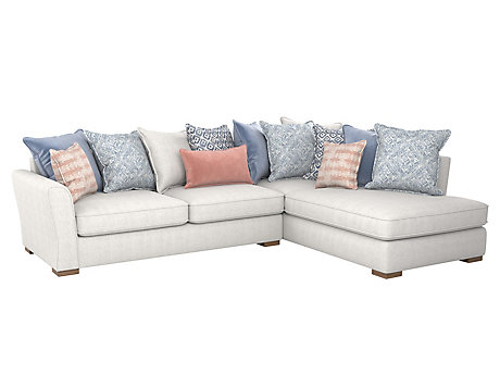 Coral Right Hand Facing Pillowback Corner Sofa With Chaise