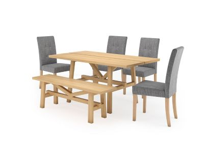Burwell Small Dining Table & 1 Small Bench and 4 Lucy Chairs
