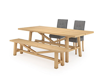 Burwell Dining Table & 1 Bench and 2 Lucy Chairs