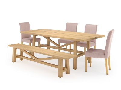 Burwell Dining Table & 1 Bench and 4 Taya Chairs