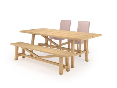 Burwell Dining Table & 1 Bench and 2 Taya Chairs