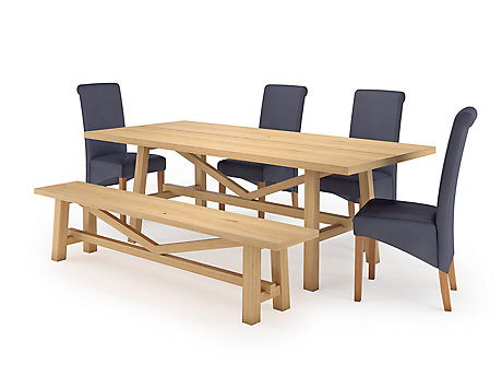 Burwell Dining Table & 1 Bench and 4 Darcy Chairs