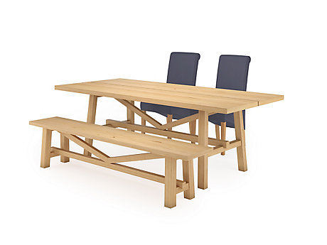 Burwell Dining Table & 1 Bench and 2 Darcy Chairs