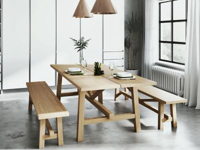 Burwell Dining Table & 2 Large Benches