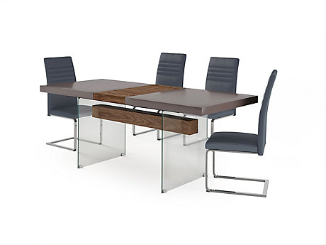 Damara Extending Dining Table & 4 Alcora Chairs