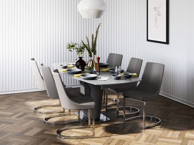 Ivanno Swivel Extending Dining Table & 6 Chairs