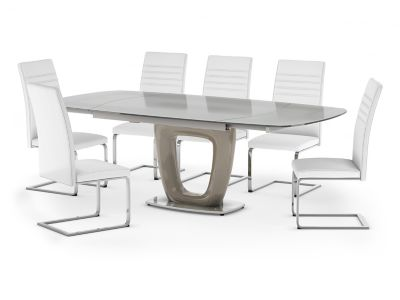 Ivanno Swivel Extending Dining Table & 6 Alcora Chairs