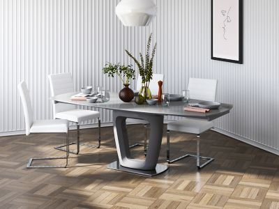 Ivanno Swivel Extending Dining Table & 4 Alcora Chairs