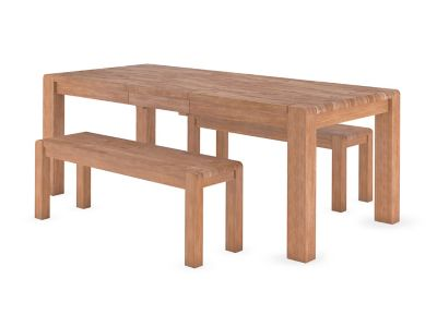 Roswell Extending Dining Table & 2 Benches