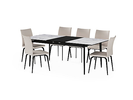 Deco Ceramic Extending Dining Table & 6 Chairs
