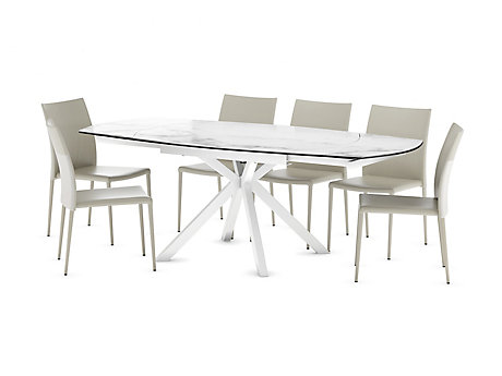 Russo Ceramic Swivel Extending Dining Table & 6 chairs