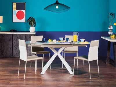 Russo Ceramic Swivel Extending Dining Table & 4 Chairs