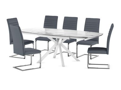 Russo Ceramic Swivel Extending Dining Table & 6 Alcora Chairs