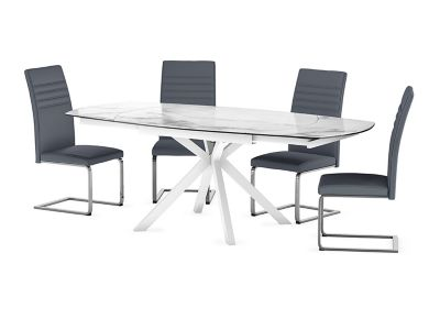 Russo Ceramic Swivel Extending Dining Table & 4 Alcora Chairs