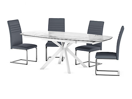 Russo Ceramic Swivel Extending Dining Table 4 Alcora Chairs