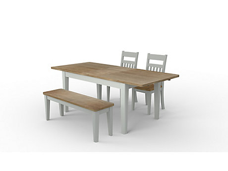 Kinston Extending Dining Table & 1 Bench and 2 Chairs
