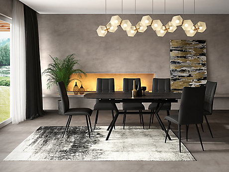 Kylo Extending Dining Table & 6 Stitch Back Chairs