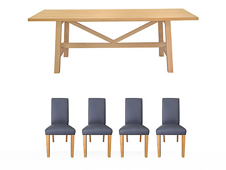 Burwell Dining Table & 4 Darcy Chairs