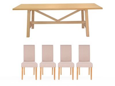 Burwell Dining Table & 4 Taya Chairs