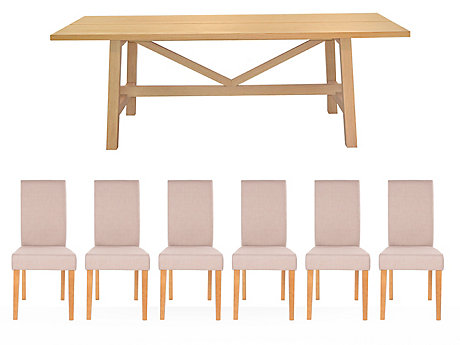 Burwell Dining Table & 6 Taya Chairs