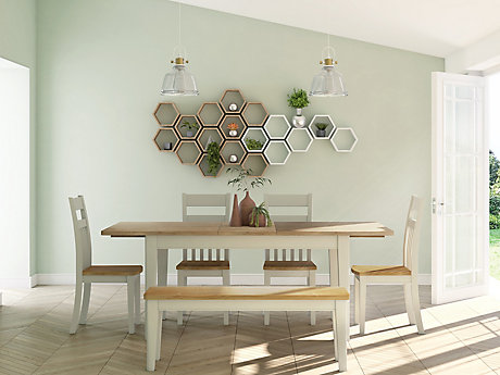 Kinston Dining Table & 1 Bench and 4 Chairs