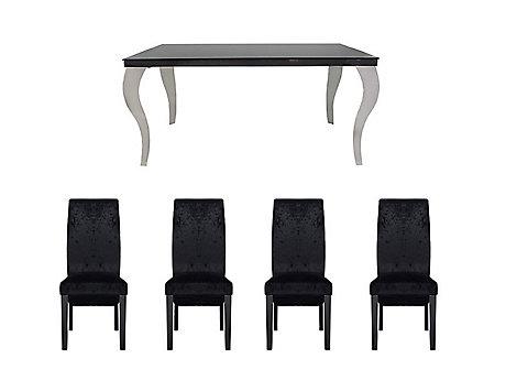 Antonella Dining Table & 4 Darcy Glitz Black Chairs