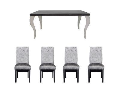 Antonella Dining Table & 4 Darcy Glitz Steel Chairs