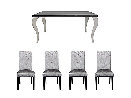 Antonella Dining Table & 4 Georgia Glitz Steel Chairs