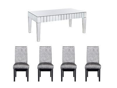 Lourdes Dining Table & 4 Darcy Glitz Steel Chairs