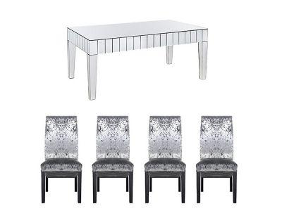 Lourdes Dining Table & 4 Georgia Glitz Steel Chairs