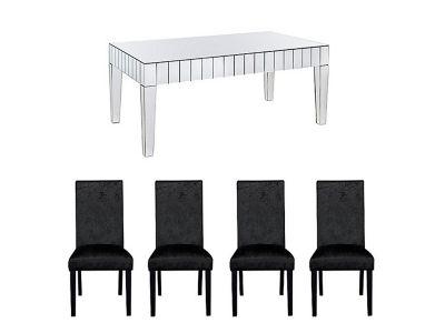 Lourdes Dining Table & 4 Georgia Glitz Black Chairs