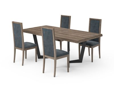 Marcello Extending Dining Table & Blue Low Top Chairs