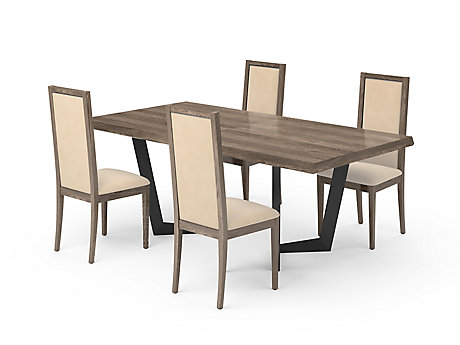 Marcello Extending Dining Table & Light Brown Low Top Chairs