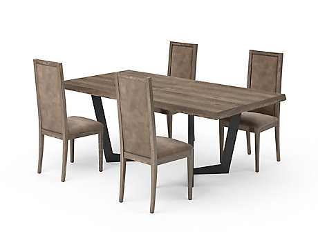 Marcello Extending Dining Table & Taupe Low Top Chairs
