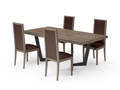 Marcello Extending Dining Table & Dark Brown PU Low Top Chairs