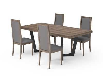 Marcello Extending Dining Table & Grey PU Low Top Chairs