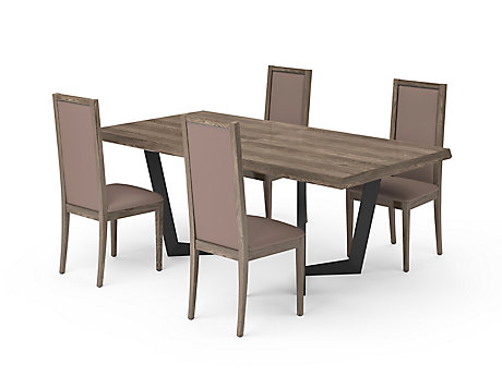 Marcello Extending Dining Table & Taupe PU Low Top Chairs