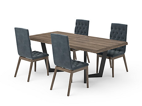 Marcello Extending Dining Table & Blue High Top Button Chairs